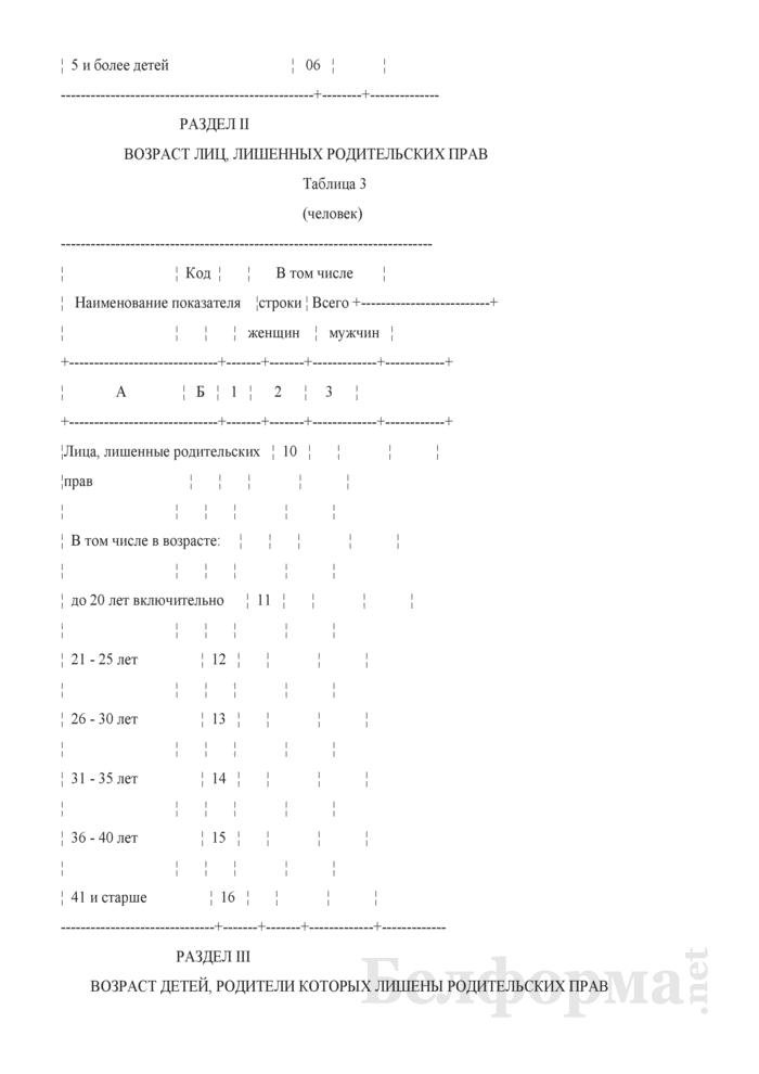 Отчет о работе судов по рассмотрению дел о лишении родительских прав (Форма 1-суды (Минюст) (годовая)). Страница 4