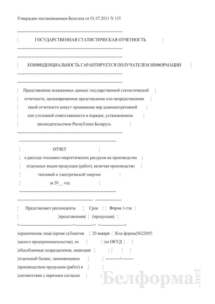 Отчет о расходе топливно-энергетических ресурсов на производство отдельных видов продукции (работ), включая производство тепловой и электрической энергии (Форма 1-тэк (продукция) (годовая)). Страница 1