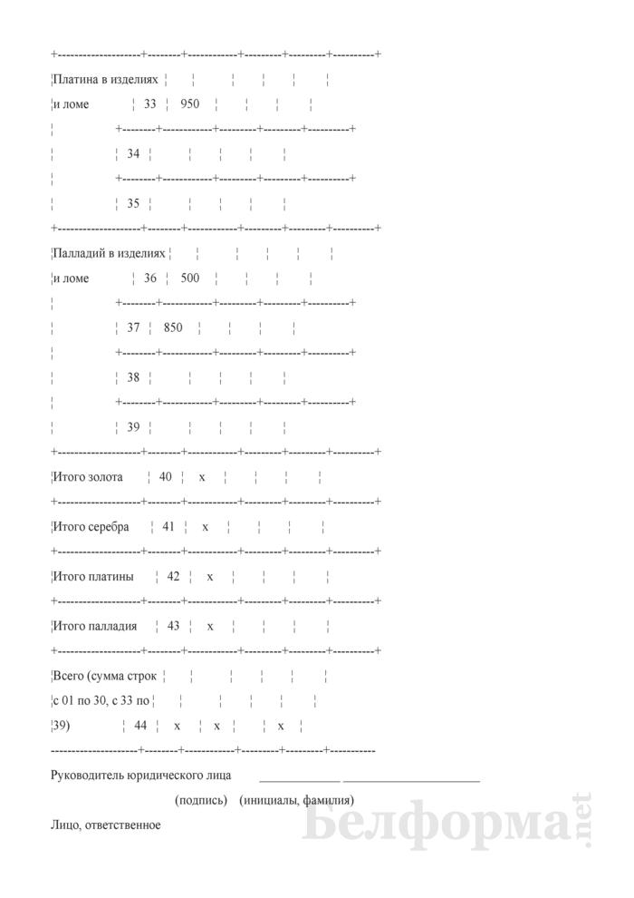 Отчет о скупке ювелирных изделий. Форма 4-скупка (Минфин) (квартальная). Страница 5