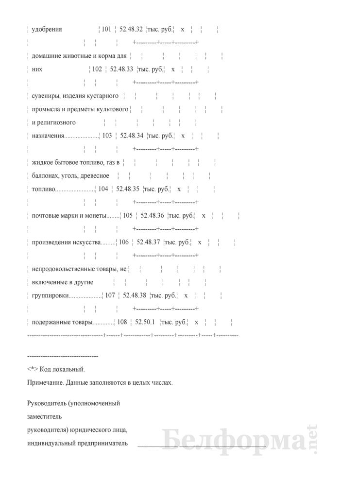 Отчет о структуре розничного товарооборота микроорганизации, индивидуального предпринимателя (Форма 7-торг (товарооборот) (единовременная), код формы по ОКУД 0609051). Страница 13