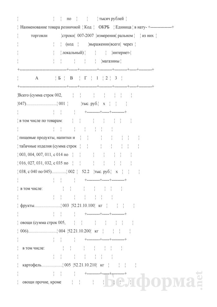 Отчет о структуре розничного товарооборота микроорганизации, индивидуального предпринимателя (Форма 7-торг (товарооборот) (единовременная), код формы по ОКУД 0609051). Страница 3