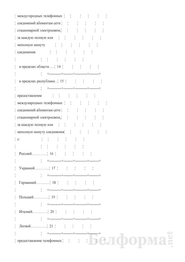 Отчет о тарифах на услуги почтовой связи и электросвязи (Форма 12-цены (связь) (месячная)). Страница 7