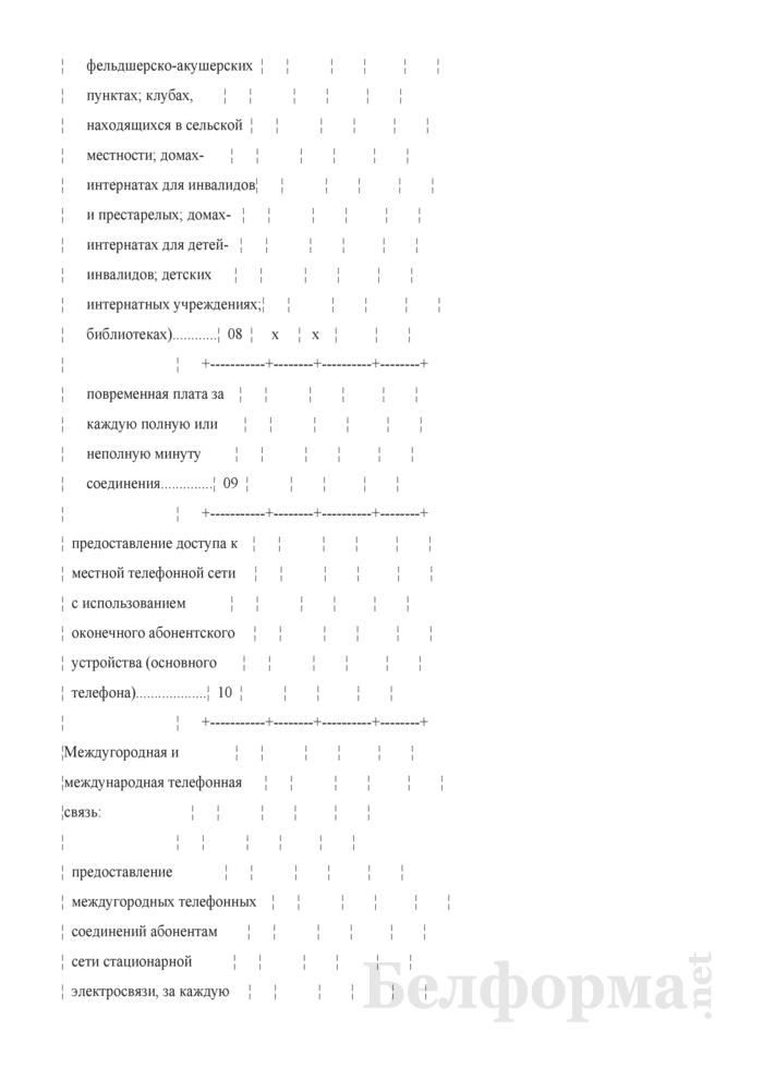 Отчет о тарифах на услуги почтовой связи и электросвязи (Форма 12-цены (связь) (месячная), код формы по ОКУД 0603019). Страница 6