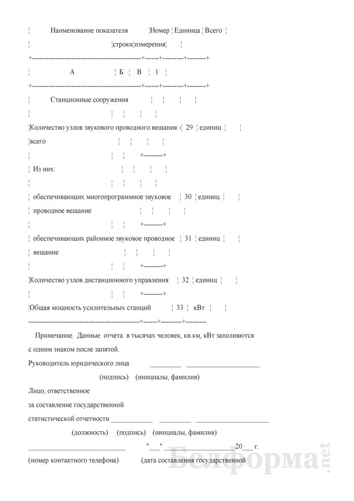 Отчет о технических средствах телевизионного и звукового вещания. Форма 1-тв (Минсвязи) (годовая). Страница 6
