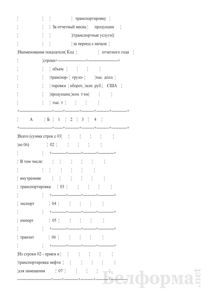 Отчет о транспортировке продукции магистральными трубопроводами. Форма 12-тр (трубопровод). Страница 3