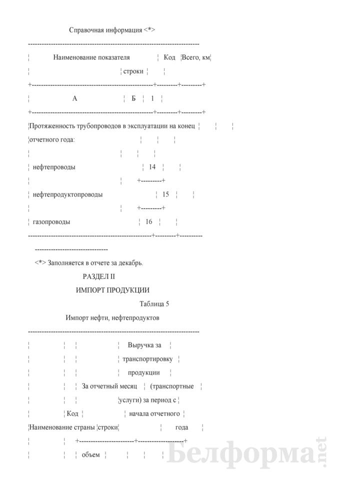 Отчет о транспортировке продукции магистральными трубопроводами. Форма 12-тр (трубопровод). Страница 5