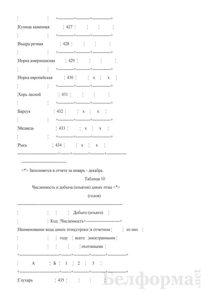 Отчет о ведении охотничьего хозяйства. Форма 2-охота (Минлесхоз) (полугодовая). Страница 15