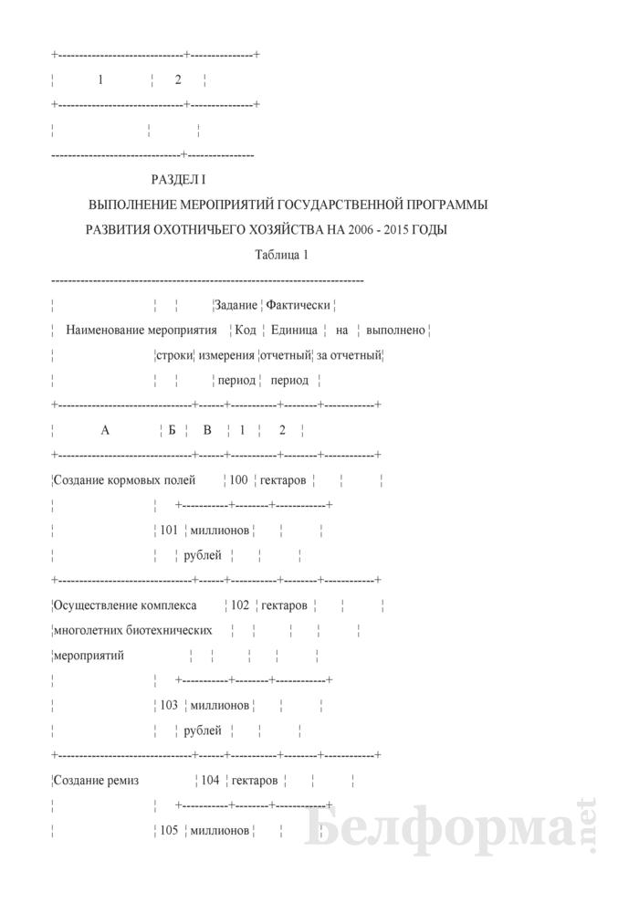 Отчет о ведении охотничьего хозяйства. Форма 2-охота (Минлесхоз) (полугодовая). Страница 3