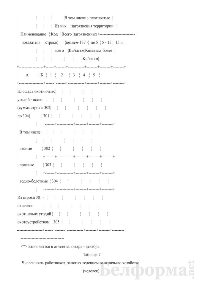 Отчет о ведении охотничьего хозяйства. Форма 2-охота (Минлесхоз) (полугодовая). Страница 10