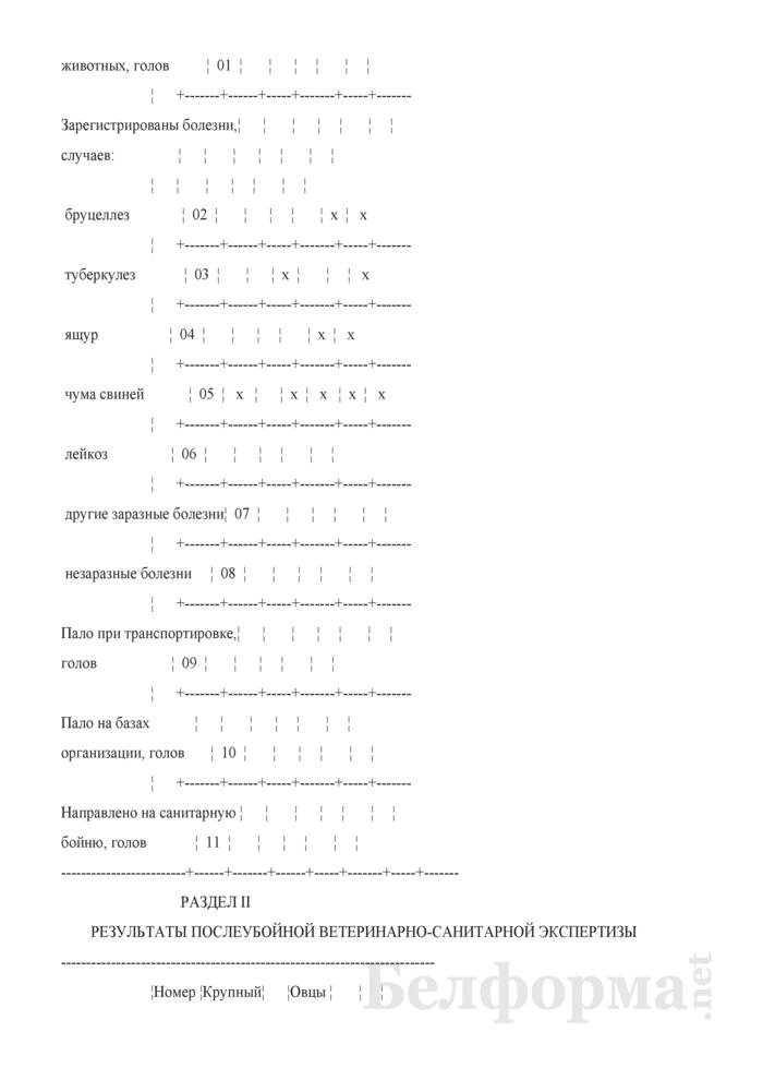 Отчет о ветеринарно-санитарном надзоре в организациях, осуществляющих переработку мяса скота и птицы (Форма 2-вет надзор переработка (Минсельхозпрод)) (полугодовая). Страница 3