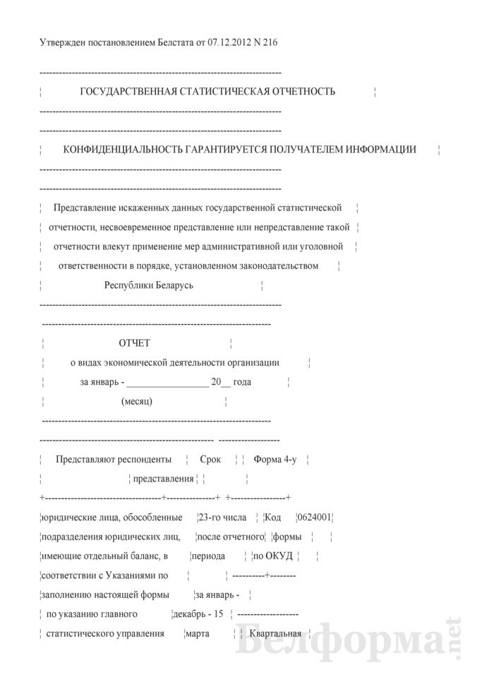 Отчет о видах экономической деятельности организации. Страница 1