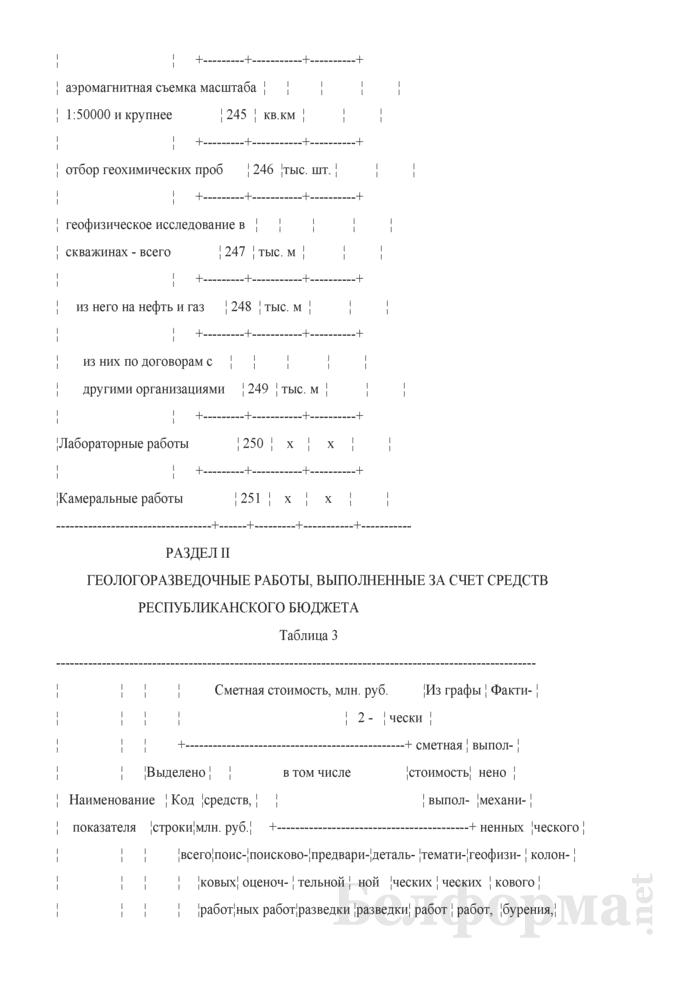 Отчет о выполнении геологоразведочных работ и приросте запасов полезных ископаемых. Форма 1-геологоразведка (Минприроды) (годовая). Страница 8