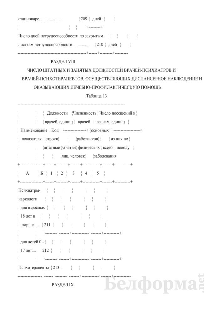 Отчет о заболеваниях психическими расстройствами, расстройствами поведения и контингентах наблюдаемых пациентов (кроме заболеваний, связанных с употреблением психоактивных средств) (Форма 1-психиатрия (Минздрав) (годовая)). Страница 40