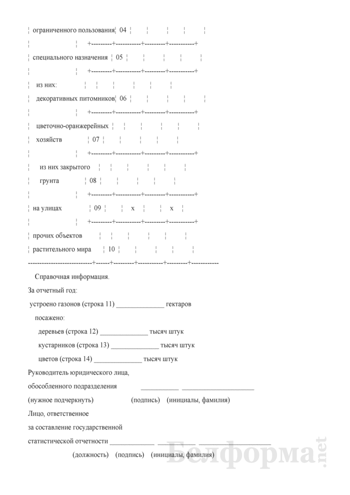 Отчет о зеленых насаждениях. Форма № 6-зеленые насаждения (Минжилкомхоз) (1 раз в 5 лет). Страница 4