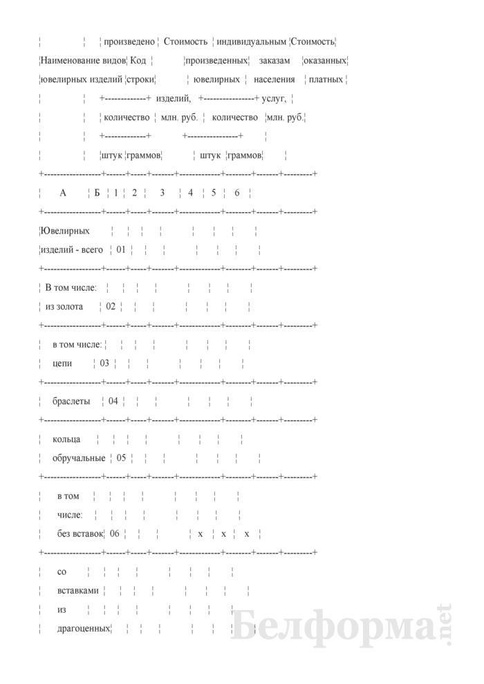 Отчет об изготовлении ювелирных изделий из драгоценных металлов и драгоценных камней (Форма 2-ювелир (Минфин) (полугодовая)). Страница 3