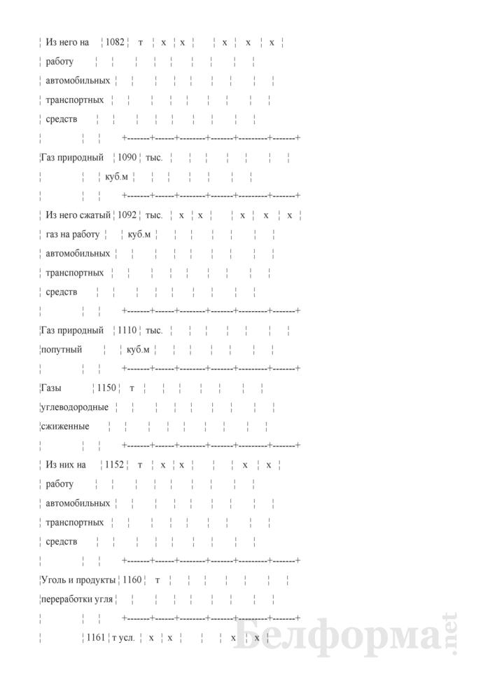 Отчет об остатках, поступлении и расходе топлива (Форма 4-тэк (топливо) (квартальная)). Страница 5