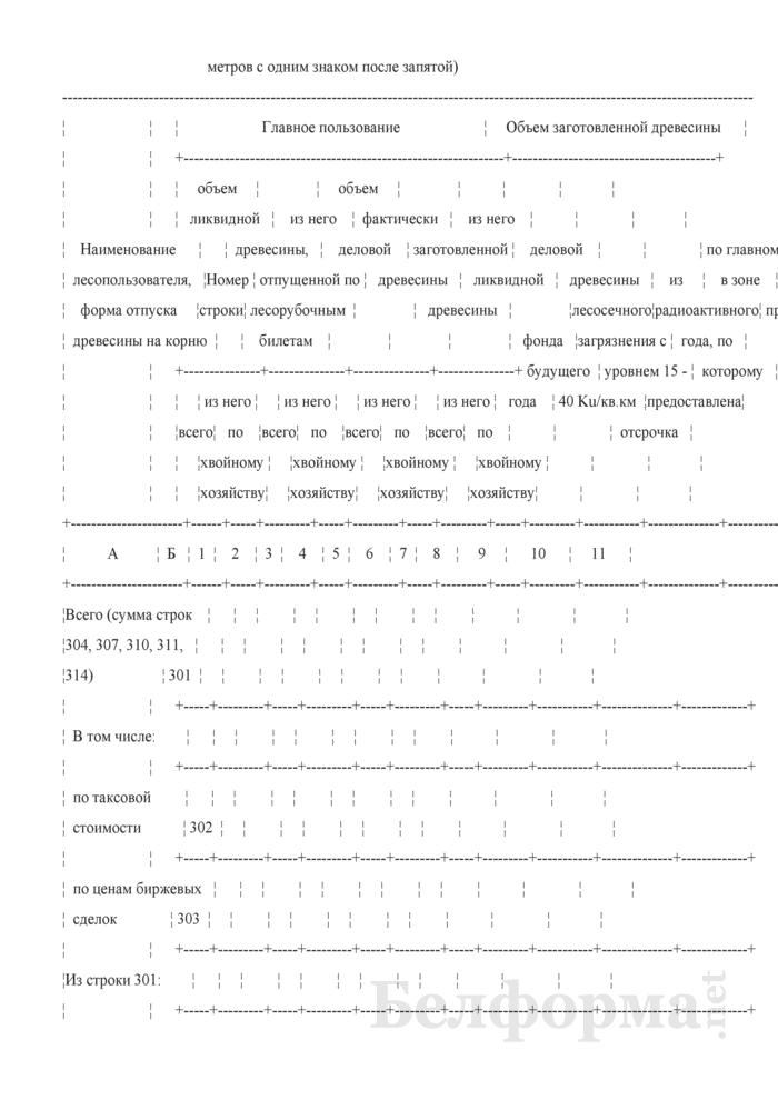 Отчет об отпуске древесины, мерах ухода за лесом, подсочке и побочных пользованиях. Форма 1-отпуск древесины (Минлесхоз) (годовая). Страница 11