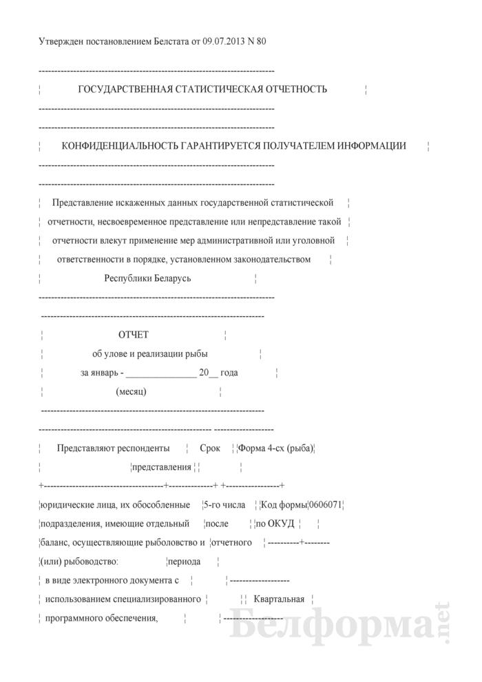 Отчет об улове и реализации рыбы (Форма 4-сх (рыба) (квартальная), код формы по ОКУД 0606071). Страница 1