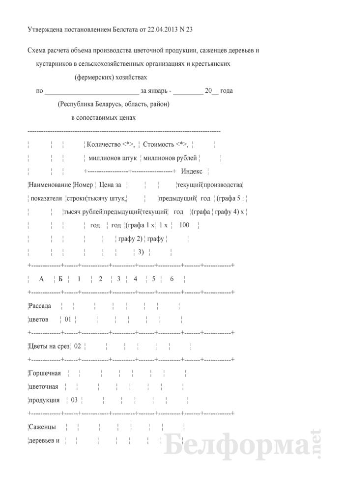 Схема расчета объема производства цветочной продукции, саженцев деревьев и кустарников в сельскохозяйственных организациях и крестьянских (фермерских) хозяйствах. Страница 1