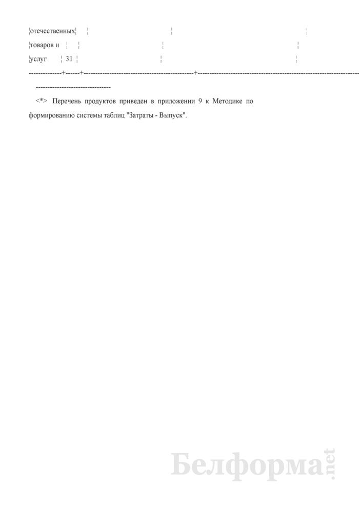 Схема таблицы использования отечественных товаров и услуг в основных ценах. Страница 2