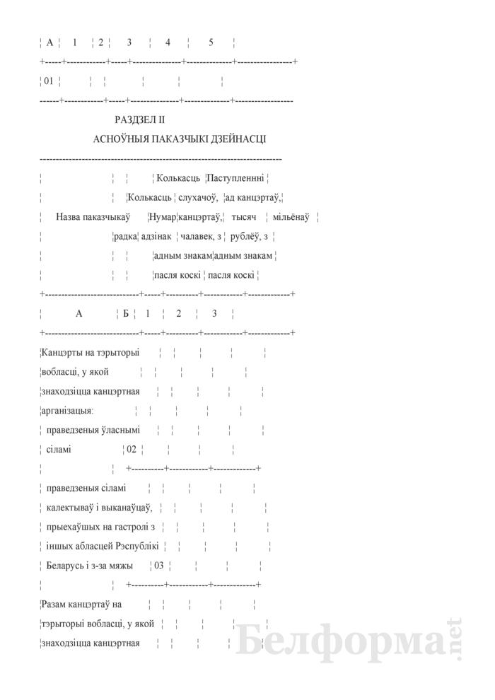 Справаздача аб дзейнасцi канцэртнай арганiзацыi. Форма № 1-канцэртная арганiзацыя (Мiнкультуры) (гадавая). Страница 3
