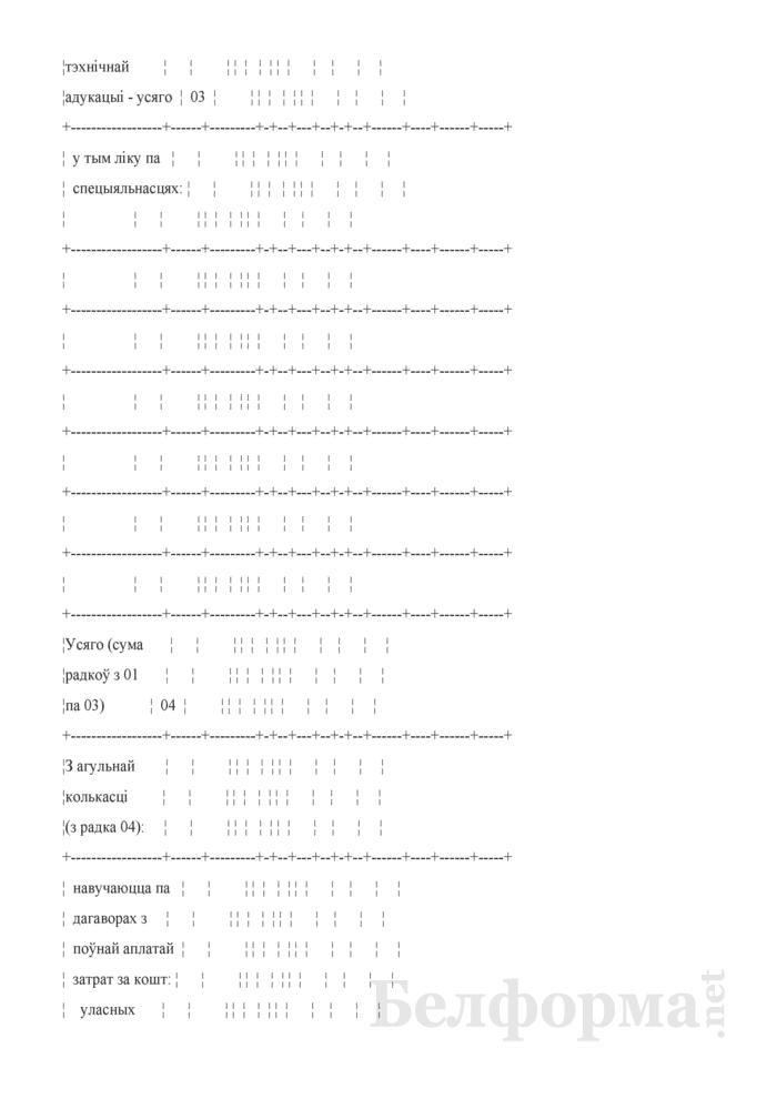 Справаздача ўстановы адукацыi, якая рэалiзуе адукацыйныя праграмы сярэдняй спецыяльнай адукацыi, па стану на 1 кастрычнiка навучальнага года (Форма 1-ссну (Мiнадукацыя) (1 раз у год)). Страница 5