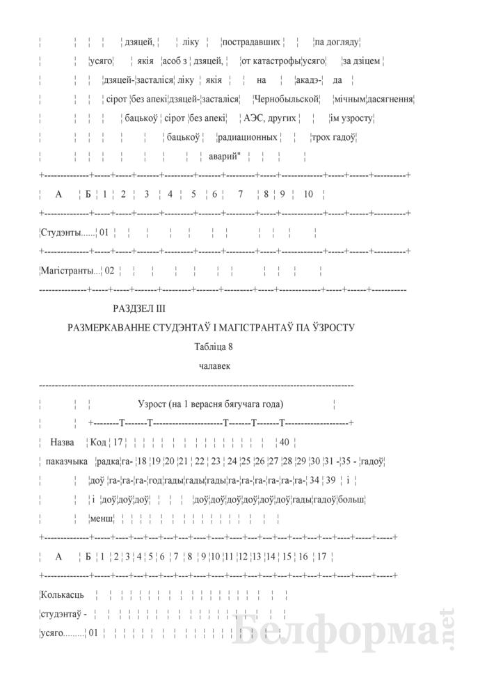 Справаздача ўстановы адукацыi, якая рэалiзуе адукацыйныя праграмы вышэйшай адукацыi (Форма 1-вну (Мiнадукацыя) (1 раз у год)). Страница 11