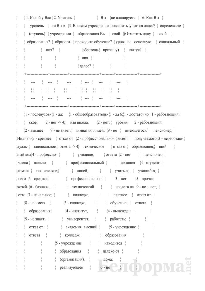 Вопросник для основного интервью (Форма 1-дх (основной) (1 раз в год)). Страница 6