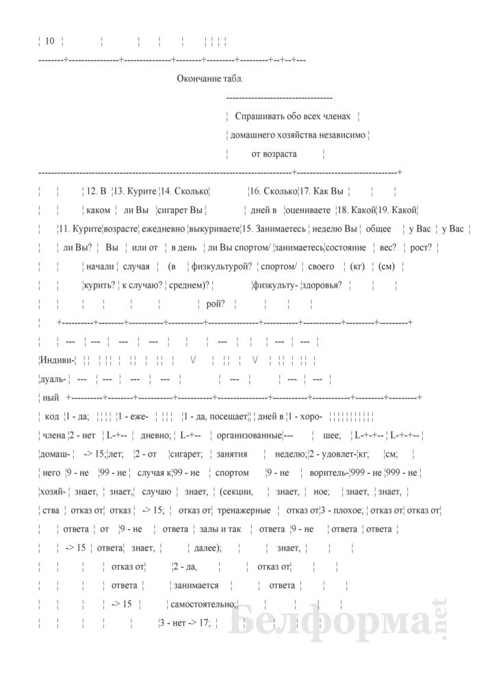 Вопросник для основного интервью (Форма 1-дх (основной) (1 раз в год)). Страница 10