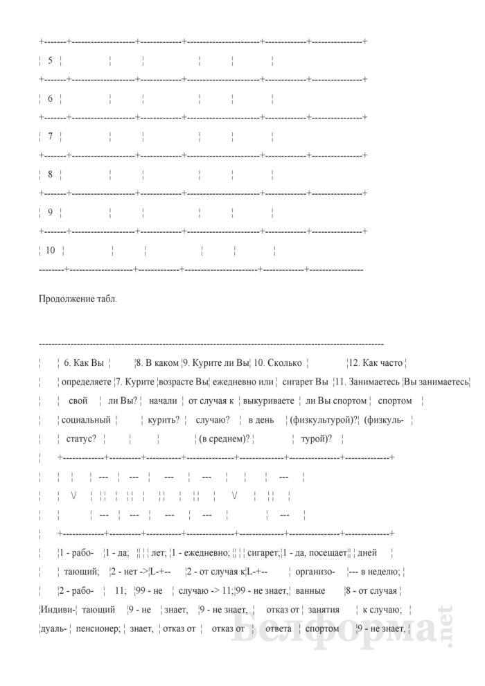 Вопросник для основного интервью (Форма 1-дх (основной) (1 раз в год), код формы по ОКУД 0617401). Страница 9