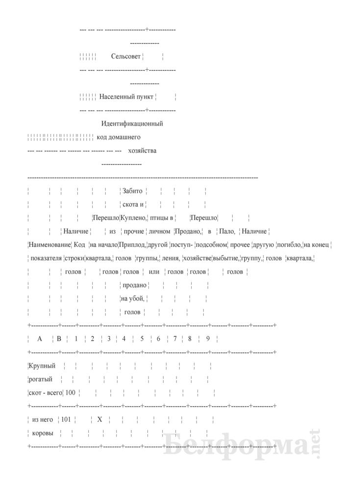 Вопросник о наличии и движении скота и птицы (Форма 4-сх (дх-животноводство) (квартальная)). Страница 2