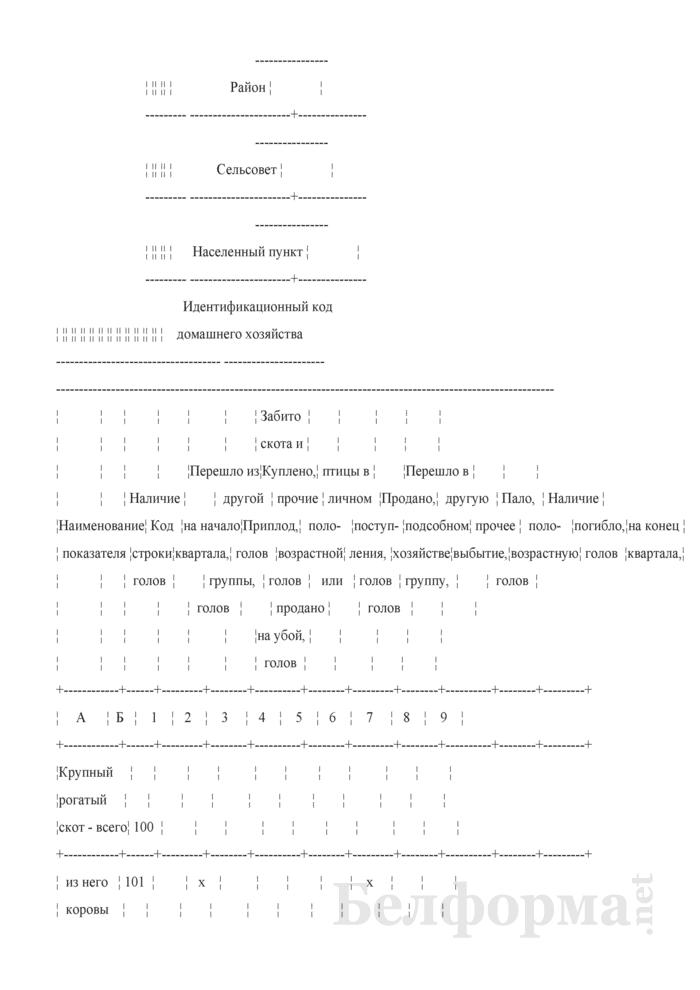 Вопросник о наличии и движении скота и птицы (Форма 4-сх (дх-животноводство) (квартальная), код формы по ОКУД 0617412). Страница 2