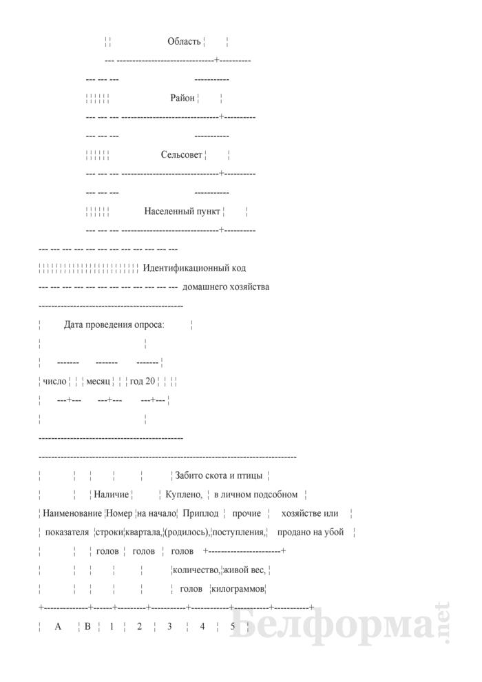 Вопросник о наличии и движении скота и птицы (Форма 4-сх (дх-животноводство) (за II, III, IV кварталы 2010 года)). Страница 2