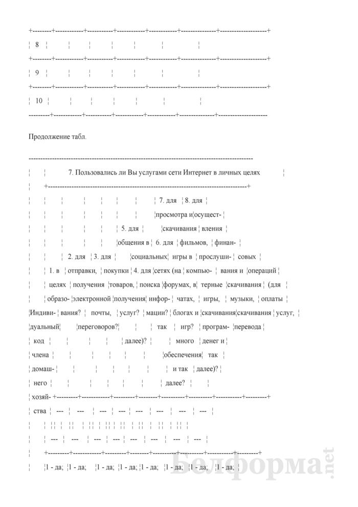 Вопросник по изучению доступа домашних хозяйств к информационно-коммуникационным технологиям (Форма 1-дх (ИКТ) (1 раз в год), код формы по ОКУД 0617417). Страница 4