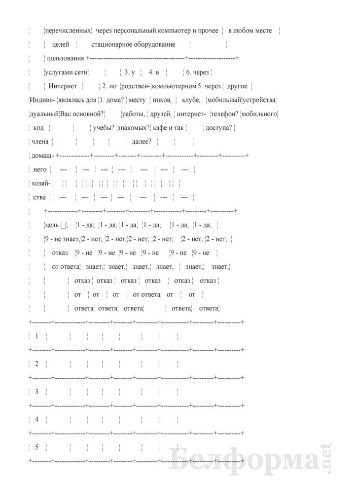 Вопросник по изучению доступа домашних хозяйств к информационно-коммуникационным технологиям (Форма 1-дх (ИКТ) (1 раз в год), код формы по ОКУД 0617417). Страница 6