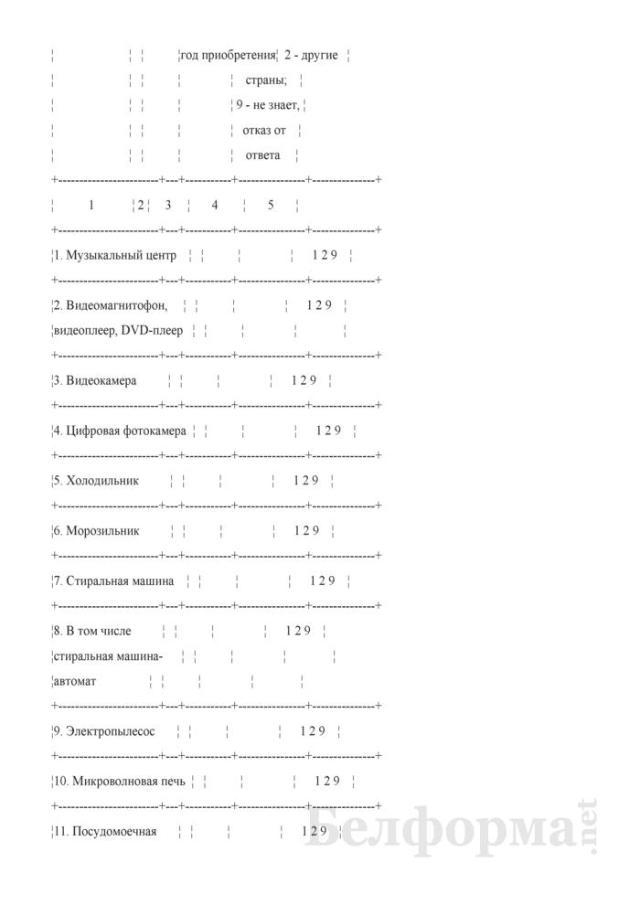 Вопросник по изучению уровня благосостояния домашних хозяйств (Форма 1-дх (благосостояние) (1 раз в год), код формы по ОКУД 0617410). Страница 10