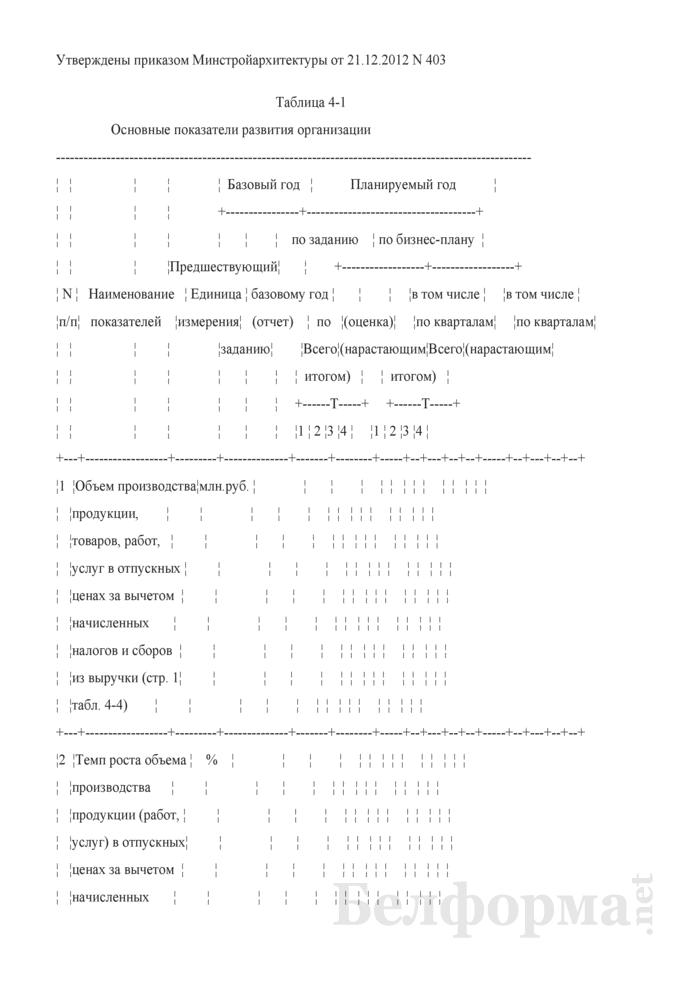Основные показатели развития организации (Таблица 4-1). Страница 1