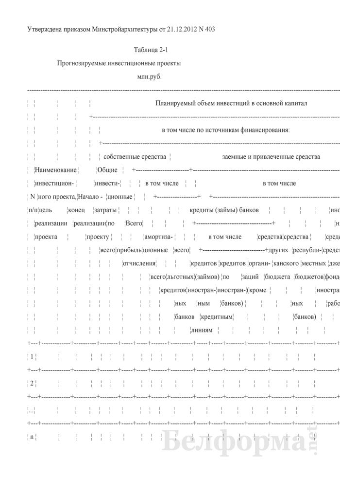 Таблица 2-1. Прогнозируемые инвестиционные проекты. Страница 1