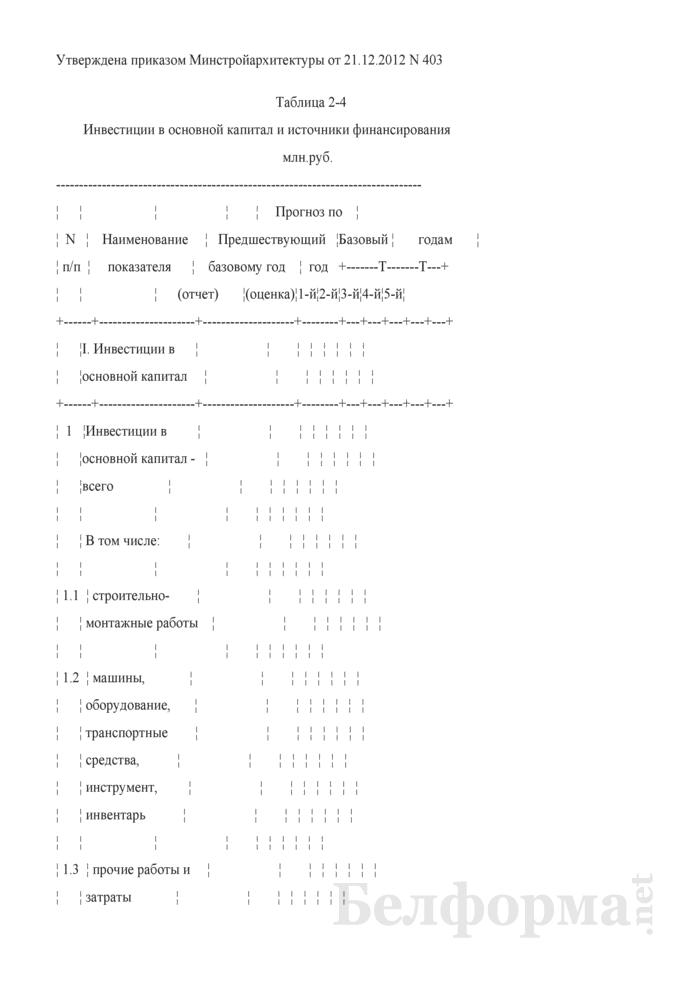 Таблица 2-4. Инвестиции в основной капитал и источники финансирования. Страница 1
