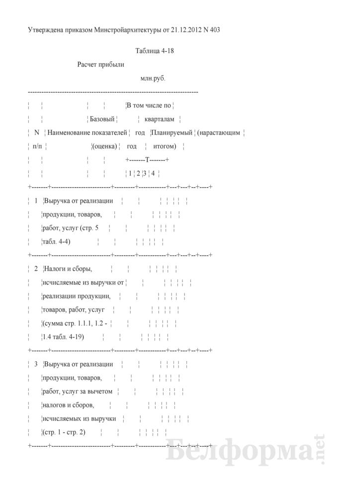 Таблица 4-18. Расчет прибыли. Страница 1