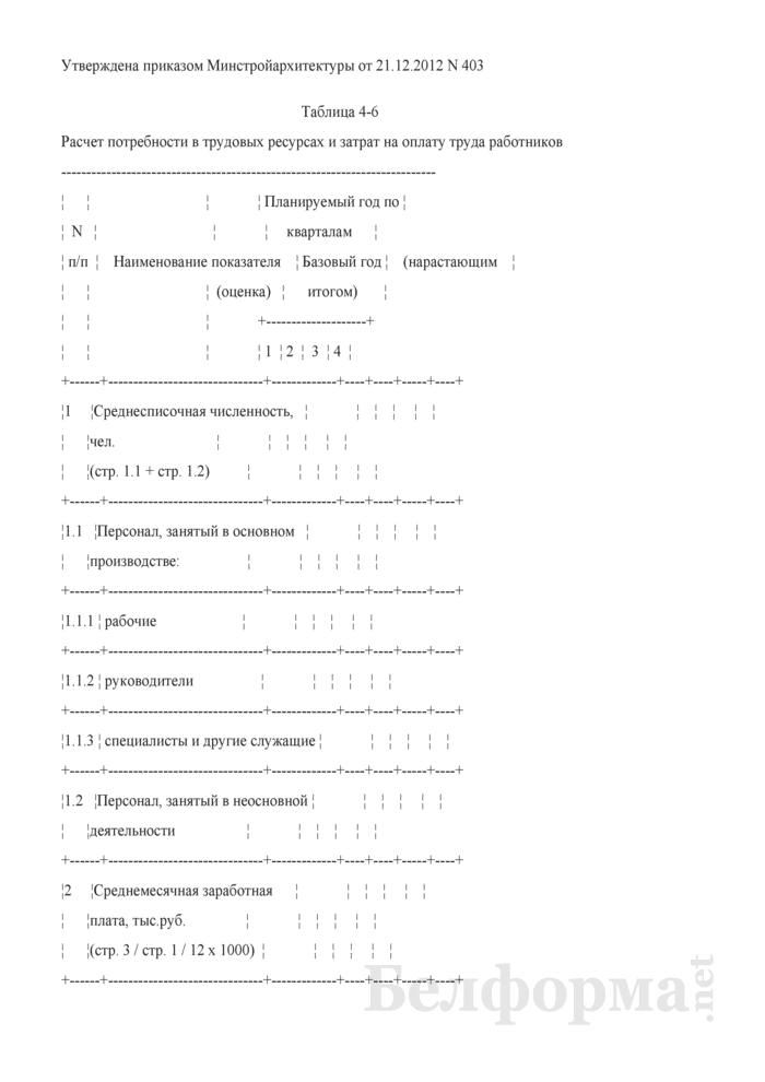 Таблица 4-6. Расчет потребности в трудовых ресурсах и затрат на оплату труда работников. Страница 1