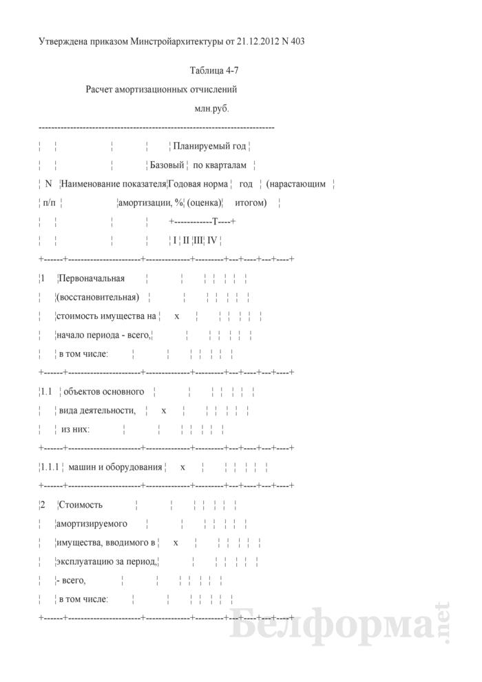 Таблица 4-7. Расчет амортизационных отчислений. Страница 1