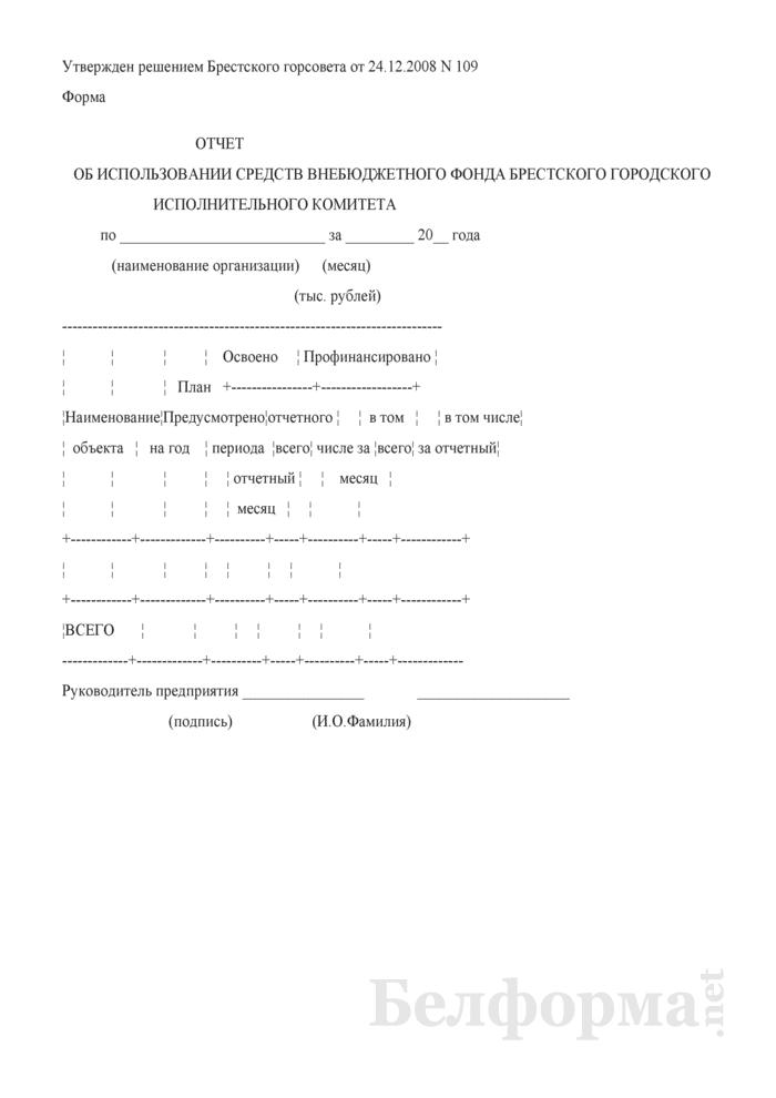 Отчет об использовании средств внебюджетного фонда Брестского городского исполнительного комитета. Страница 1