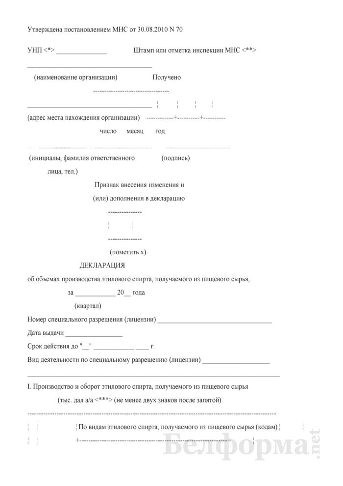Декларация об объемах производства этилового спирта, получаемого из пищевого сырья. Страница 1