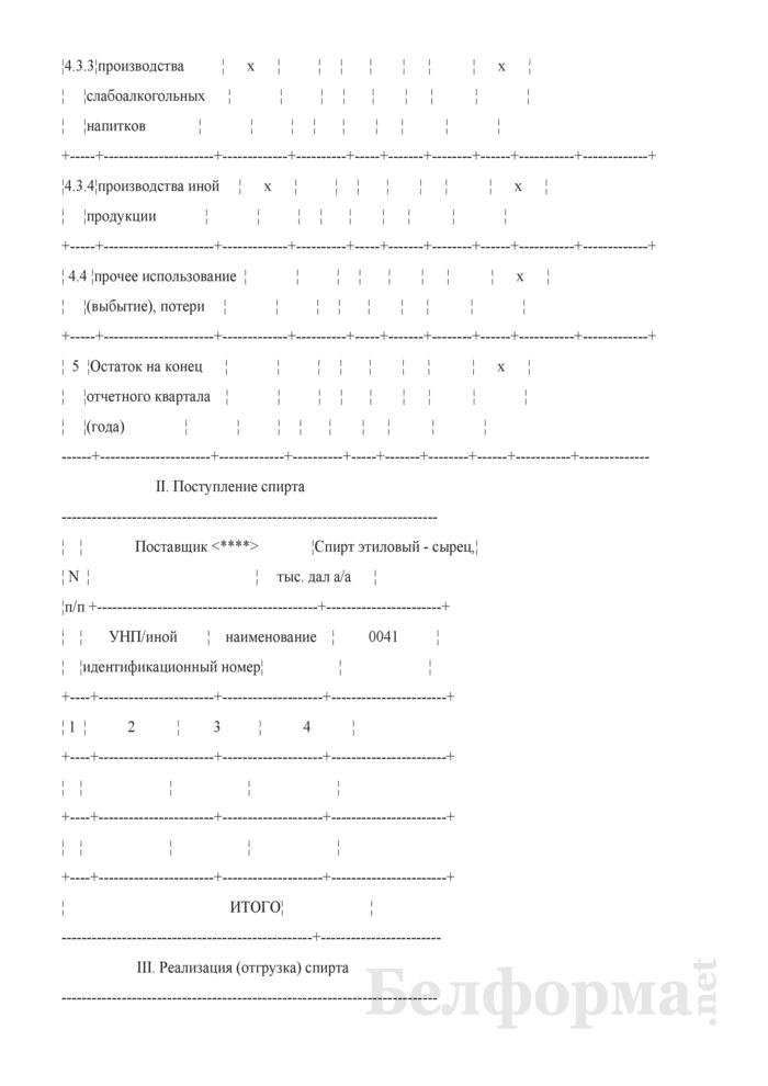 Декларация об объемах производства этилового спирта, получаемого из пищевого сырья. Страница 4
