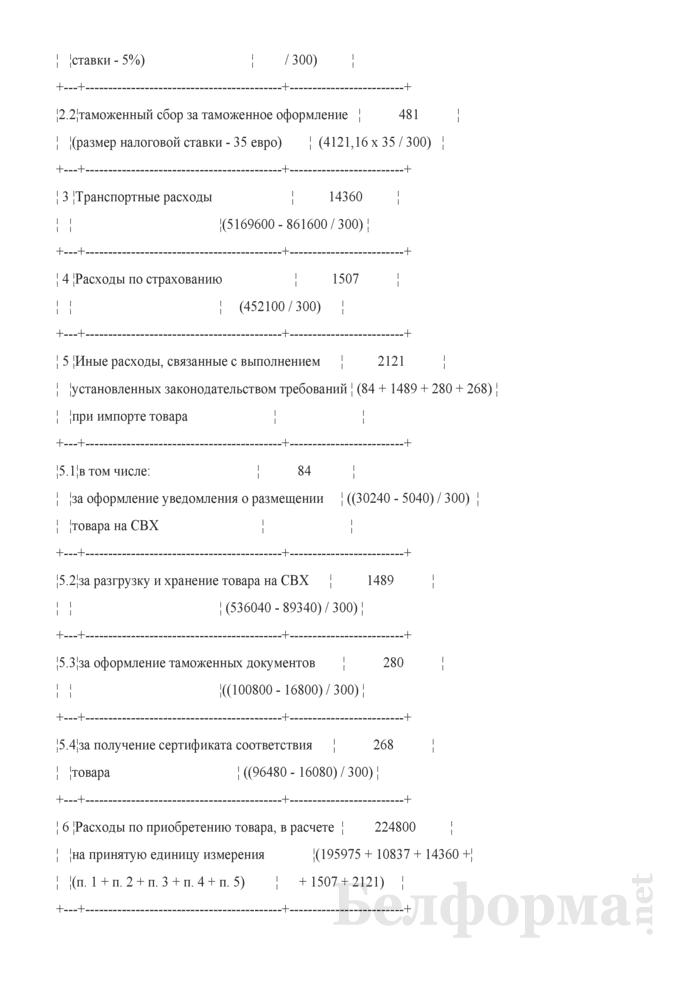 Экономический расчет по обоснованию уровня отпускной цены на товары иностранного происхождения (Пример составления). Страница 3