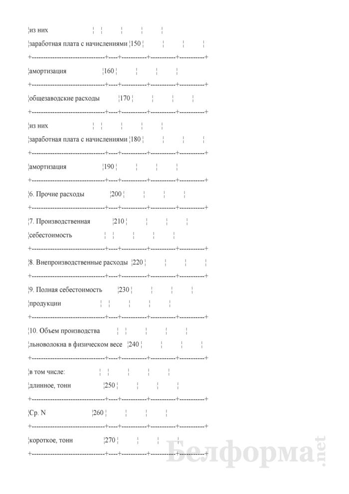 Калькуляция полной себестоимости отдельных видов товарной продукции (по первичной переработке льна) (форма 55-АПК). Страница 3