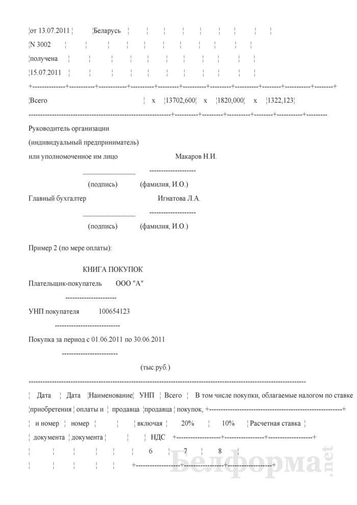 Книга покупок (Примеры заполнения). Страница 4
