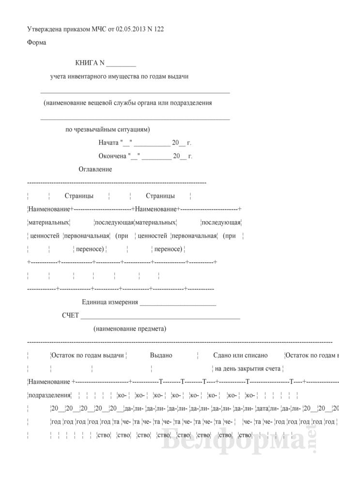 Книга учета инвентарного имущества по годам выдачи. Страница 1