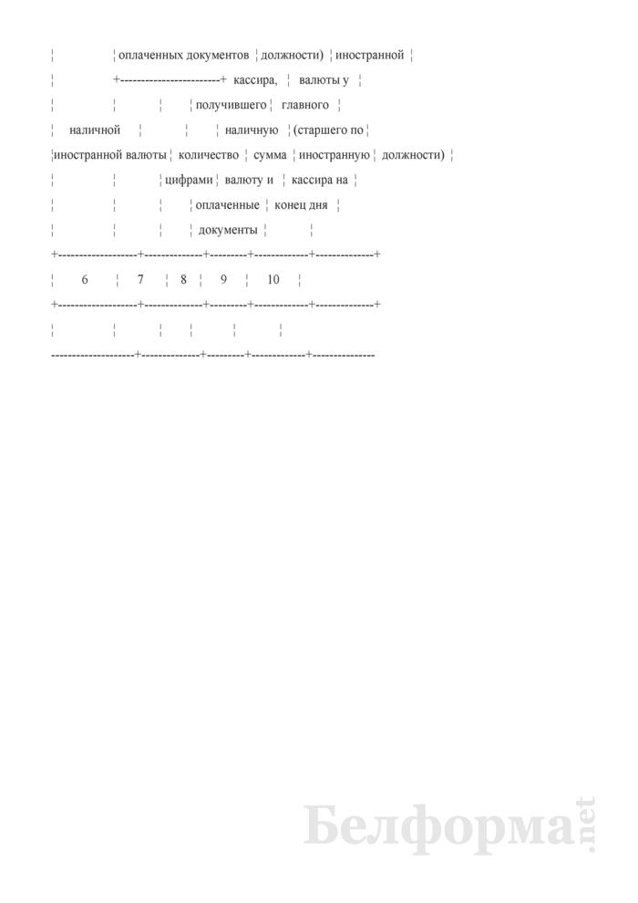 Книга учета принятой и выданной кассиром наличной иностранной валюты (Форма). Страница 2